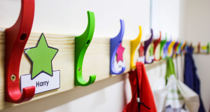 Classroom with coat hangers